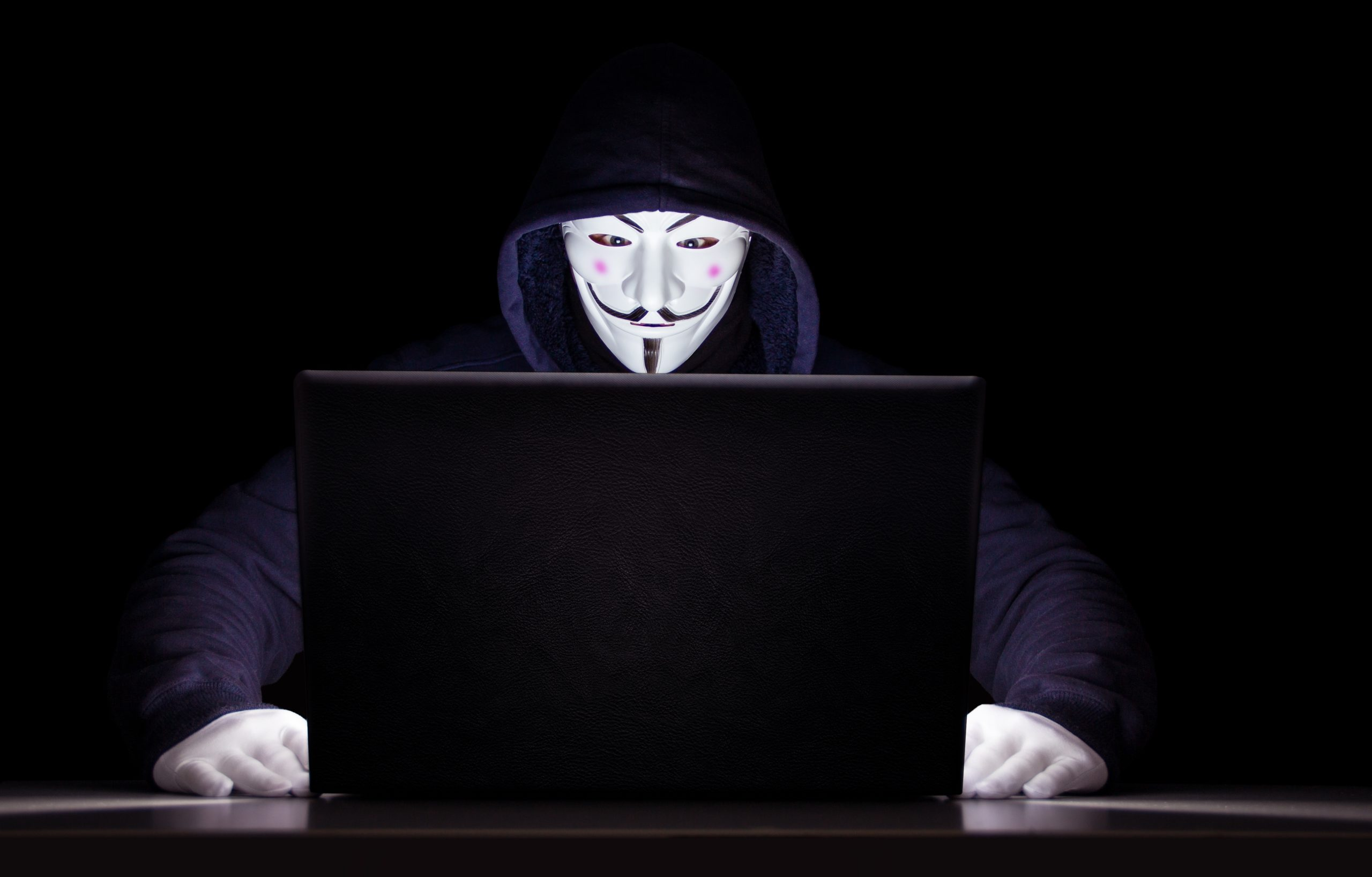 "En person iklädd huvtröja vid en laptop, maskerad med en ""Guy Fawkes""-mask"